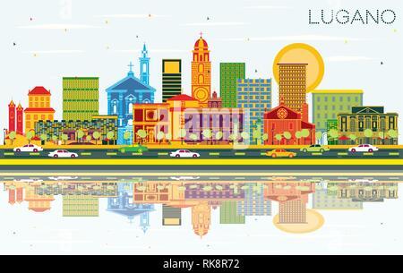 Lugano Schweiz Skyline mit Farbe Gebäude, blauer Himmel und Reflexionen. Vector Illustration. - Stockfoto