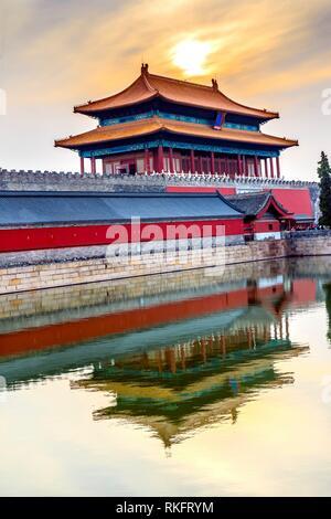 Hinteres Gatter himmlische Reinheit Gugong Verbotene Stadt Graben Canal Plaace Wand Beijing China. Der Kaiserpalast in den 1600er Jahren in der Ming Dynastie errichtet wurde. - Stockfoto