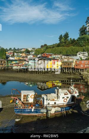 Palafitos, Castro, Archipiélago de Chiloé, Provincia de Chiloé, Región de Los Lagos, Patagonien, República de Chile, Südamerika. - Stockfoto