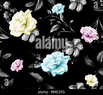 Schöne Blume Niederlassungen in Schwarz und Muster - Stockfoto