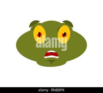 Frosch Angst OMG Emotion. Kröte Oh mein Gott emoji. Erschrocken Anuran. Vector Illustration - Stockfoto