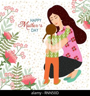 8. März. Cute cartoon Mutter und Tochter mit Doodle Blumen und Blätter auf einem weißen Hintergrund. Vektor Vorlagen für Karte, Plakat, Flyer und andere verwenden - Stockfoto