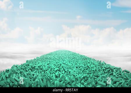 Big Data highway Konzept, große Menge an grünen Buchstaben und Zahlen bilden eine Strasse in die Luft, mit blauem Himmel Wolken Hintergrund. - Stockfoto