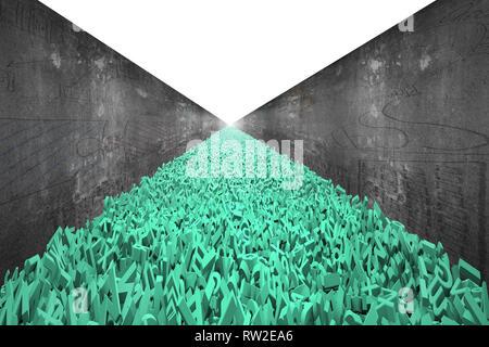 Big Data highway Konzept, riesige Menge von 3d-grünen Buchstaben und Zahlen bilden eine Straße mit doodles Betonwand auf beiden Seiten, leeren weißen Hintergrund. - Stockfoto