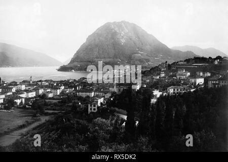 Panorama, Lugano, Schweiz 1910-20 - Stockfoto