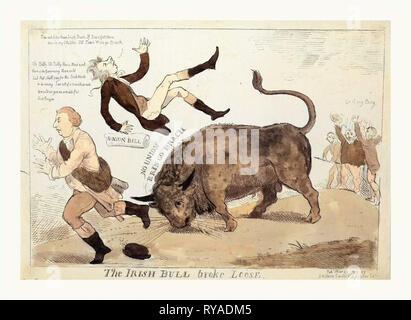 Die irische Bulle brach, Cruikshank, Isaac, 1756?-1811?, Gravur 1799, die Irische Bull werfen William Pitt in die Luft und über das Gleiche zu tun, Herr Dundas, läuft nach Links, ganz rechts, die Pitt's Union Bill jubeln auf dem Stier entgegen, Gehen, mein Junge - Stockfoto