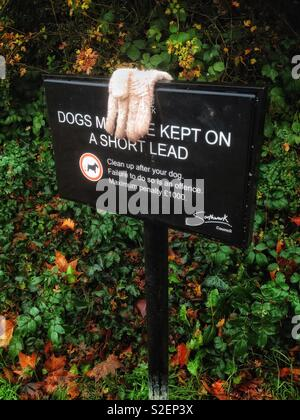 Eine verlorene weißer Handschuh auf einer öffentlichen Bekanntmachung in einem Londoner Park - Stockfoto