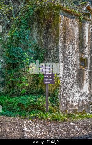 Blick auf informative Holzbrett mit mehreren Pfaden zu Glück, Haus in Ruinen mit Klettern an der Wand, bergwald als backgroun - Stockfoto