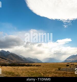Herrliche Aussicht in Mount Cook Nationalpark, Neuseeland - Stockfoto