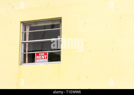 Miami Beach, Florida Fenster Wohnung für Miete Wohnen anmelden - Stockfoto