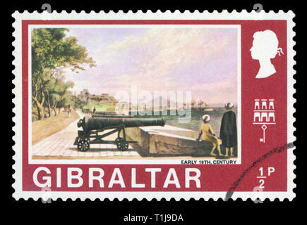 GIBRALTAR - ca. 1971: ein Stempel gedruckt in Gibraltar zeigt das Bild von 12 Pounder, Anfang des 19. Jahrhunderts, circa 1971. - Stockfoto