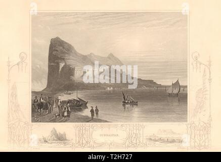 Blick auf den Felsen von Gibraltar und Befestigungsanlagen 1860 alten, antiken Drucken - Stockfoto
