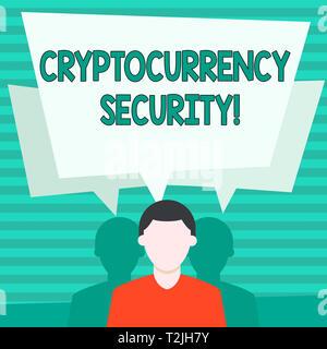 Konzeptionelle Handschrift zeigt Cryptocurrency Sicherheit. Konzept Sinn versucht, digitalen Währungen bekommen mit illegalen Mitteln Gesichtslosen Mann hat zwei Shad - Stockfoto