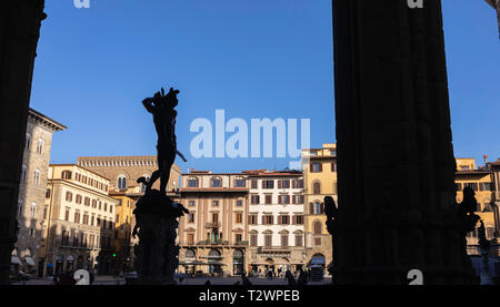 Die Statue des Perseus außerhalb der Ufizzi Galerie in Piazza della Signoria in Florenz, Toskana, Italien. Bild Datum: Sonntag, 24. Februar 2019. Hg - Stockfoto
