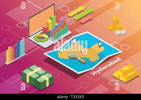 Hyderabad Indien Stadt isometrische Finanzwirtschaft Zustand Konzept für beschreiben Städte Wachstum erweitern-Vektor - Stockfoto