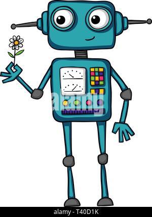 Süß und bunt Abbildung: Eine freundliche Roboter und lächelnd eine Blume. - Stockfoto