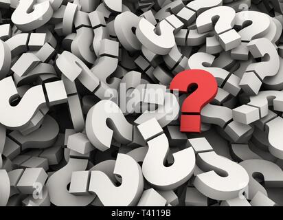 Einzelne rote Fragezeichen stehen heraus - 3d-Business Konzept - Stockfoto