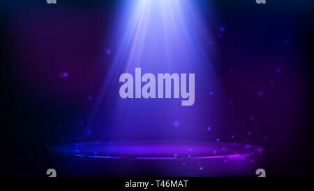 Stage Spot Beleuchtung. magische Licht und Teilchen. Blau und lila Hintergrund. Vector Illustration - Stockfoto