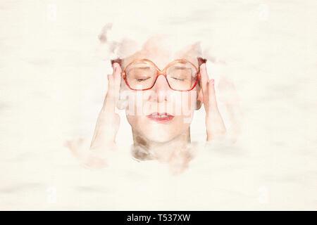 Portrait von Frau mit grosse Gläser, die Kopfschmerzen in Aquarell - Stockfoto