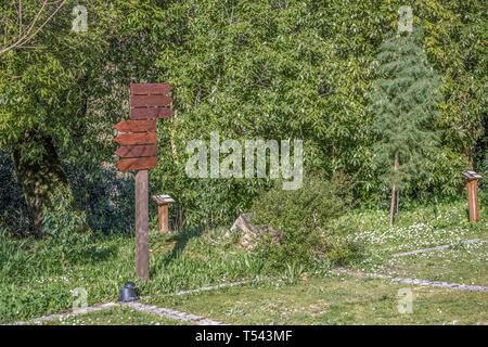 Anzeigen von Informationen in Holz mit mehreren Richtungen, Hintergrund mit Bäumen, leere Teller für Käufer bearbeiten - Stockfoto