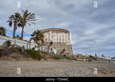 Torre Lance de Las Cañas. XVIII Jahrhundert. Las Chapas, Marbella, Spanien. - Stockfoto