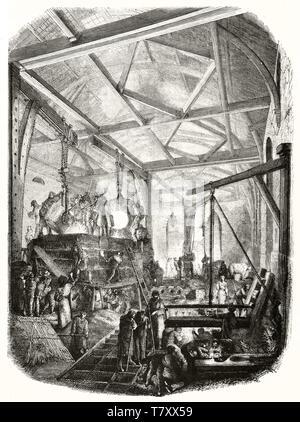 Allgemeine Ansicht eines alten warmen hohe Gießerei und Arbeiter. Die durch unbekannte Thema publ. Auf Magasin Pittoresque Paris 1848 - Stockfoto