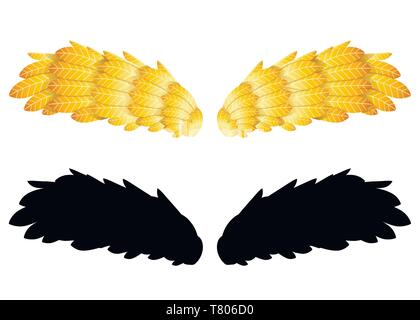 Goldenen federn Flügel. Zwei Flügel, schwarze Silhouette. Flache Abbildung auf weißem Hintergrund. Abstrakte logo Symbol. - Stockfoto
