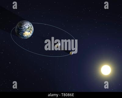 PROBA-3-Satelliten in der Umlaufbahn, Artwork - Stockfoto