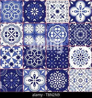 Portugiesisch oder Spanisch Azujelo Vektor nahtlose Kacheln Design - Lissabon retro marine blau Muster, Fliese große Sammlung - Stockfoto