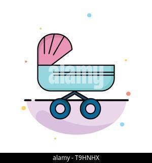 Trolly, Baby, Kinder, Kinderwagen schieben, flachen Farbe Symbol Vektor - Stockfoto