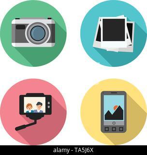 Vektor einrichten der Foto Kamera, instant Bilderrahmen, selfie erfassen mit einem Smartphone von zwei Freunden oder Ehepaar und kein Bild verfügbaren Symbole. blan - Stockfoto