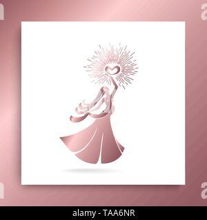 Logo Frau. Zeichen der Mutterschaft und glückliche schwangere Mädchen. Schöne schwangere Frau mit einem brennenden Herzen in ihre Hände als Symbol der Liebe und der tenderne - Stockfoto