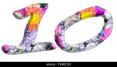 Die Zahl Zehn Teil einer Reihe von Buchstaben, Zahlen und Symbole von 3D Buchstaben mit bunten Blumen Bilder auf weißem Hintergrund - Stockfoto