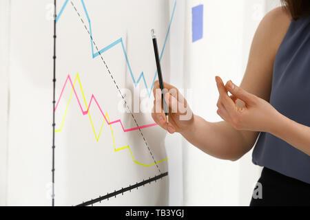 Junge Geschäftsfrau, die Präsentation im Büro - Stockfoto