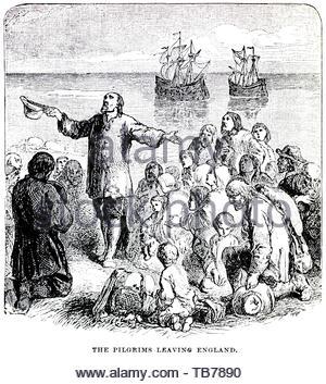 Die Pilgrim Fathers Vorbereitung von Southampton England auf dem Schiff Mayflower, für die Plymouth Kolonie in Plymouth, Massachusetts, New England, Amerika 1620 abzuweichen. - Stockfoto