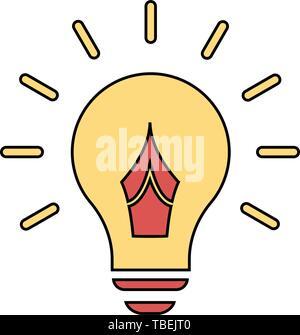 Das Konzept der erfolgreichen Idee von glühlampenform inspiriert - mit Pen nib-Symbol-Vektor - Stockfoto