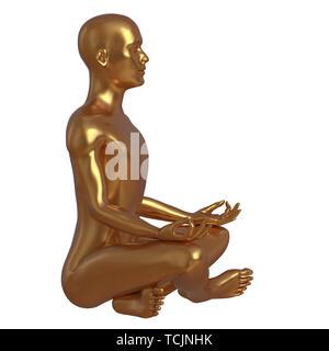Der Mensch ist der Meditation im Lotussitz yoga stilisierten goldenen Zeichen Seitenansicht Hälfte Gesicht. Männliche menschliche Seele Body Mind balance Nirvana symbol Konzept. 3d-illust - Stockfoto