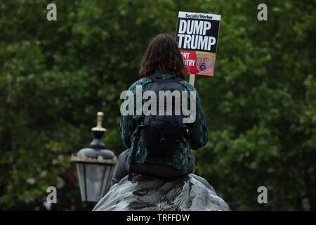 London, Großbritannien. 4. Juni 2019. Ein einsamer Demonstrant sitzt auf dem Kopf eines der black lion Statuen auf dem Trafalgar Square am Tag Demonstranten mit einem Massenprotest in London auf dem Trafalgar Square, Whitehall und Parliament Square gegen den Präsidenten der USA, Donald Trump, einem Besuch in Großbritannien. Credit: Joe Kuis/Alamy - Stockfoto