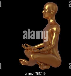 Yoga Lotus stellen Menschen meditieren in stilisierten goldenen Zeichen Seitenansicht Hälfte Gesicht. Männliche menschliche Seele Body Mind balance Nirvana symbol Konzept. 3D-Rendering - Stockfoto