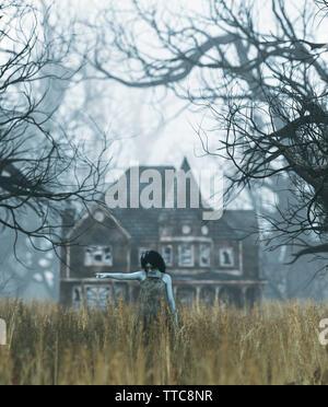 Ghost Mädchen mit Haunted house szene in gruseligen Wald, 3D-Darstellung - Stockfoto