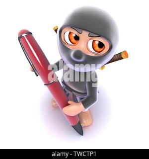 3D-Render eines lustigen Cartoon ninja assassin Schreiben mit einem Stift - Stockfoto