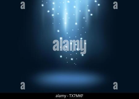 Blau dunkle Bühne und Hintergrund anzeigen mit hellen Sterne und Spotlight - Stockfoto