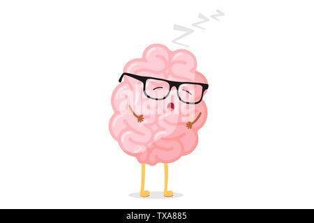 Cute cartoon Smart menschlichen Gehirn mit Brille Entspannung. Zentralen Nervensystems schlafen Orgel lustig Vector Illustration - Stockfoto