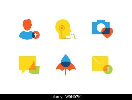 Technologie und Soziale Medien - flaches Design style Icons einstellen - Stockfoto