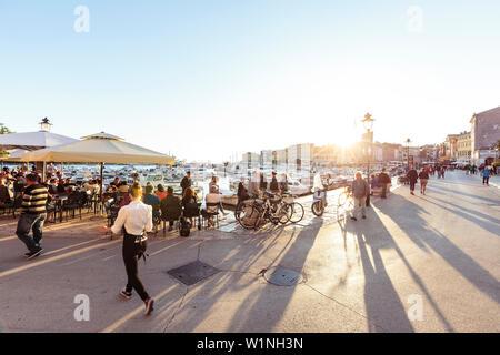 Hafen in der Abendsonne, Rovinj, Istrien, Kroatien - Stockfoto