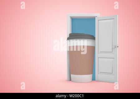 3D-Rendering der offenen Tür auf Farbverlauf rosa Hintergrund und großen cofee Pappbecher in der Tür stehen. - Stockfoto