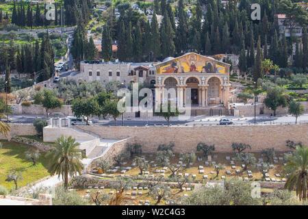 Israel, Jerusalem, Ölberg, Kirche aller Nationen, auch die Kirche oder die Basilika der Agonie bekannt - Stockfoto