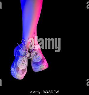 Schlanke weibliche Beine in weißen Turnschuhen. Trend Neonlicht. - Stockfoto