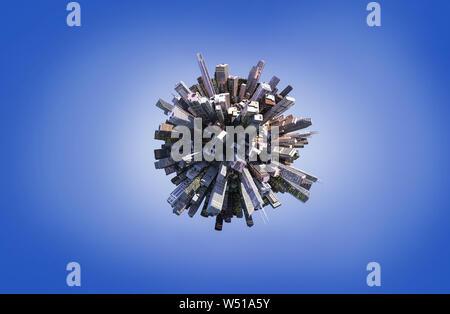 Globus Konzept einer Stadt mit Wolkenkratzern (3D-Abbildung) auf blauem Hintergrund - Stockfoto