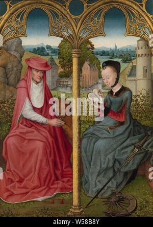 Der hl. Hieronymus und Hl. Katharina von Alexandrien, Hieronymus und Sainte Catherine, De hl. Hieronymus und der Hl. Catherine sitzt auf einem Rasen auf einer Sitzbank, von der Landschaft hinter abgeschirmt wird durch eine Rose Hedge. Jerome ist durch sein Symbol Tier, der Löwe, von dessen Bein hat er ein Dorn erstellt sind, begleitet. Es ist ein Schwelbrand, gebrochene Holz- rad mit Catharina's Füßen und einem langen Schwert neben ihr lehnte sich, beide Symbole ihres Martyriums. Die königliche Tochter Catharina ein Vorbild für Reiche, höfischen Frauen betrachtet wurde, und als solche ist sie auch hier dargestellt. Sie hat ein sehr rasiert Stirn in die Mode, die - Stockfoto